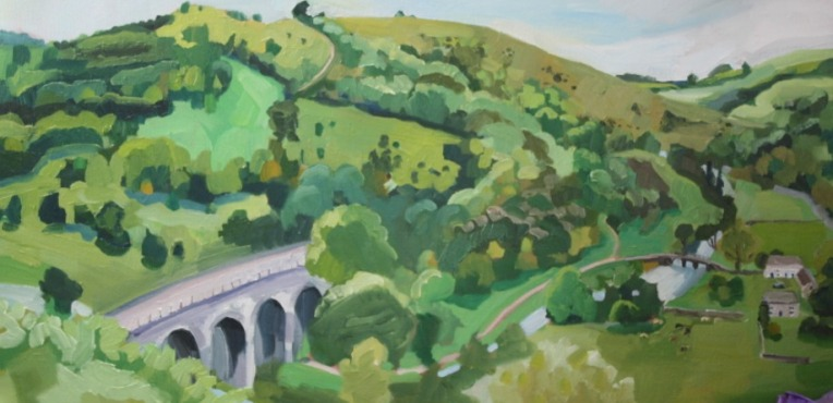 oil painting of england, bakewell countryside