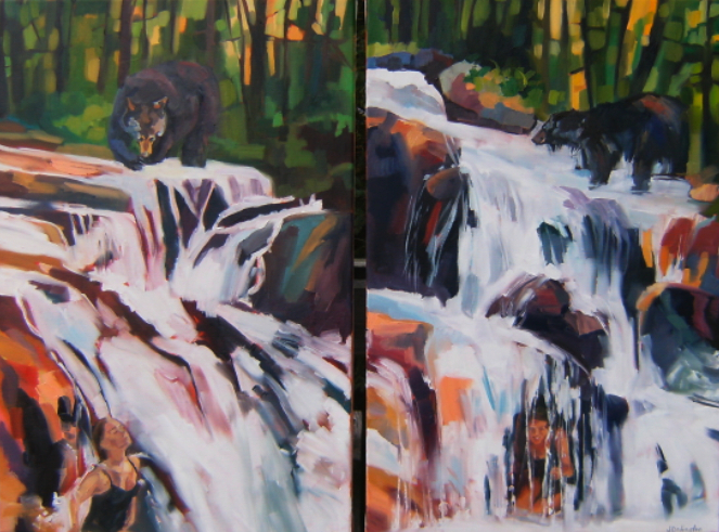 oil painting of waterfalls and bears and bathing woman