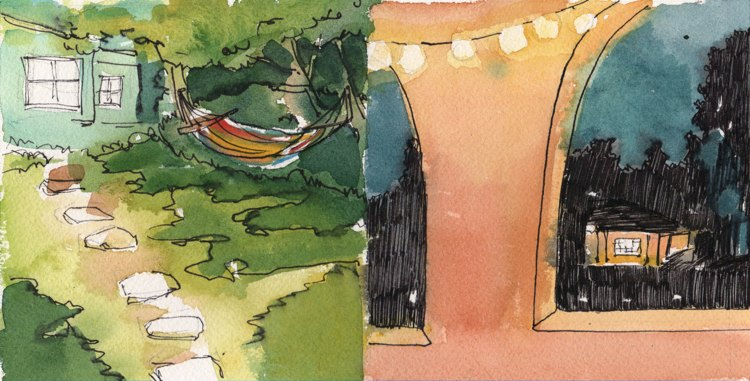 watercolour and ink paintings of backyards