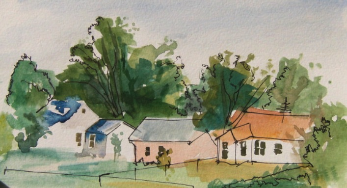 watercolour painting of houses in new mexico