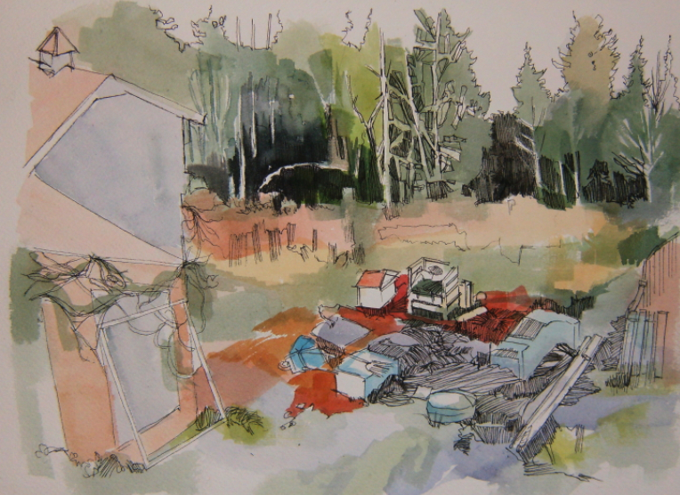 Ink and watercolour drawing of bear near chicken coop