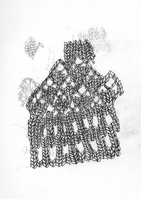 graphite and ink drawing of knitting