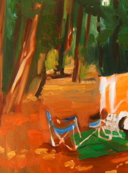 oil painting of campsite