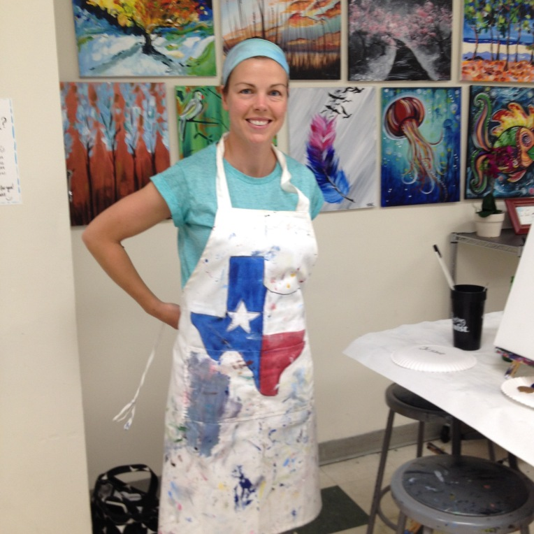 when in Texas you must choose the apron with Texas painted on it