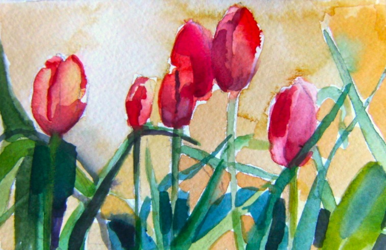 watercolour of tulips