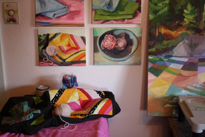 Still-life painting in the studio