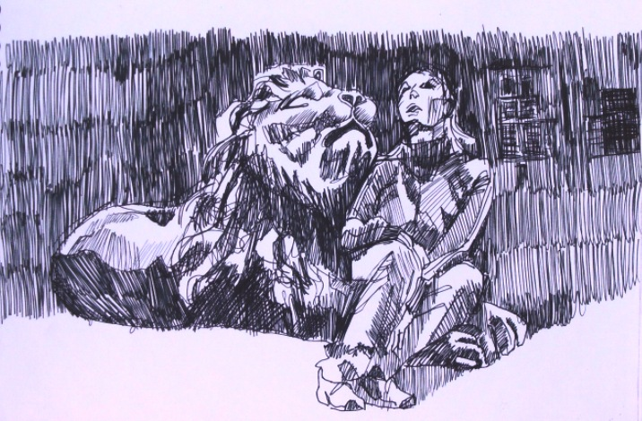 drawing of lion and girl