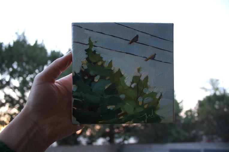 """Sunday at Sunset, oil on canvas, 6 x 6"""""""