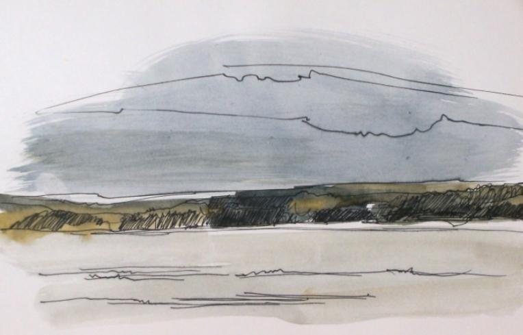 sketch of a lake