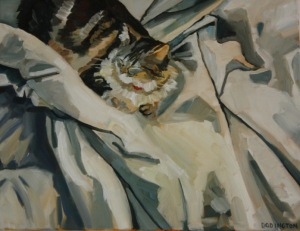 Kitten in the Sheets, oil on cavnas, 16 x 20""