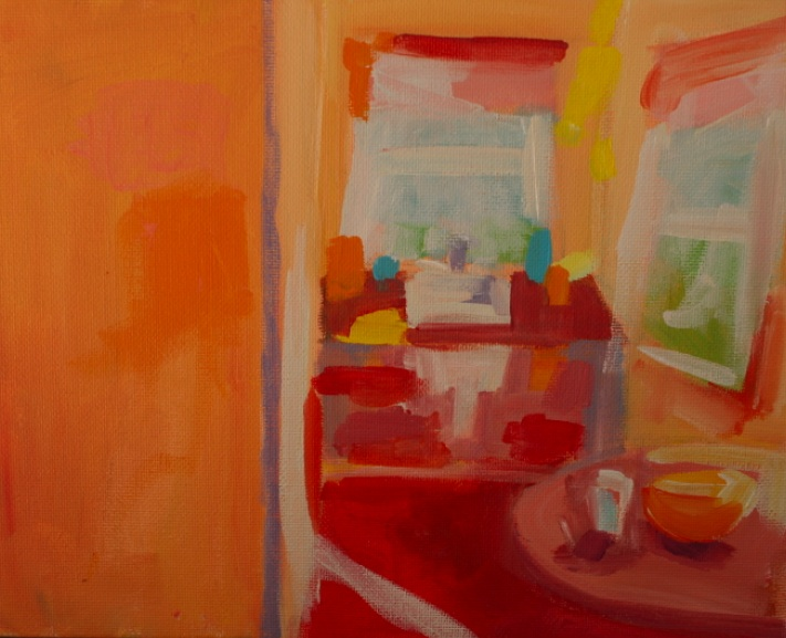 acrylic painting of kitchen