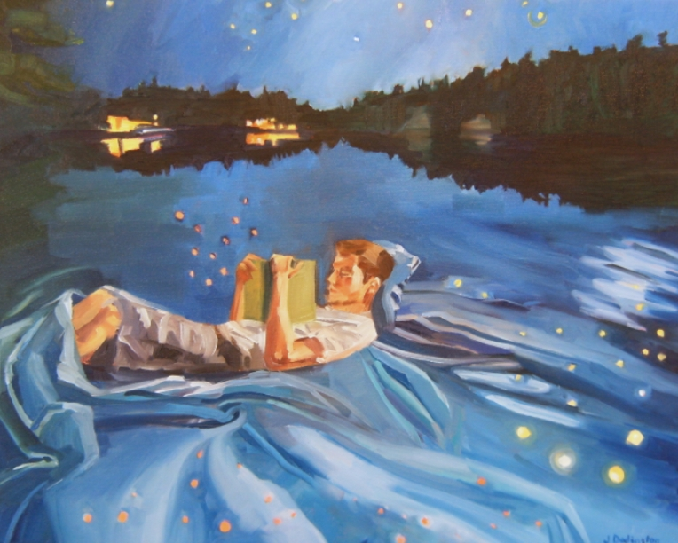 oil painting of man reading book on lake at night