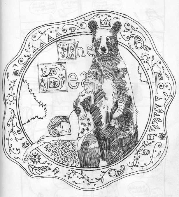 pen and ink drawing of the bear, a fairy tale