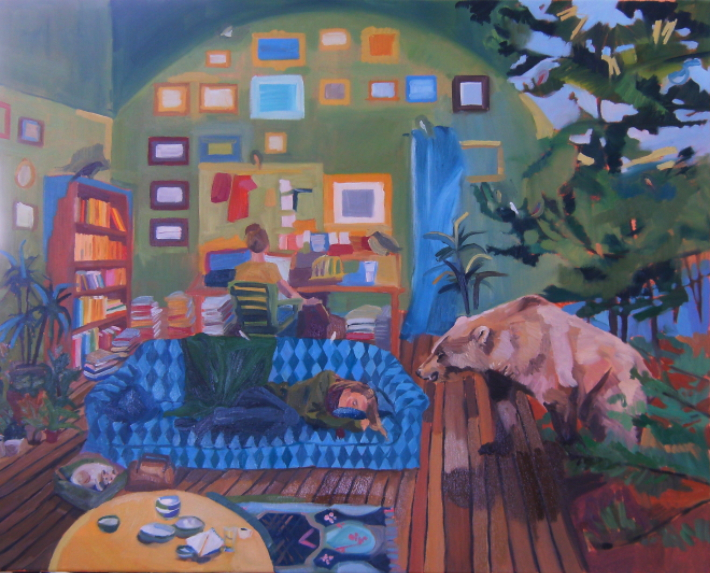 oil on canvas painting of an interior with bear