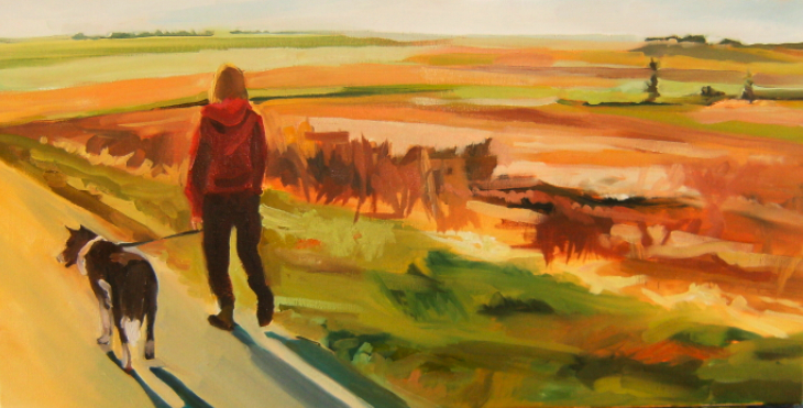 Painting of dog walking on the Marsh in oil