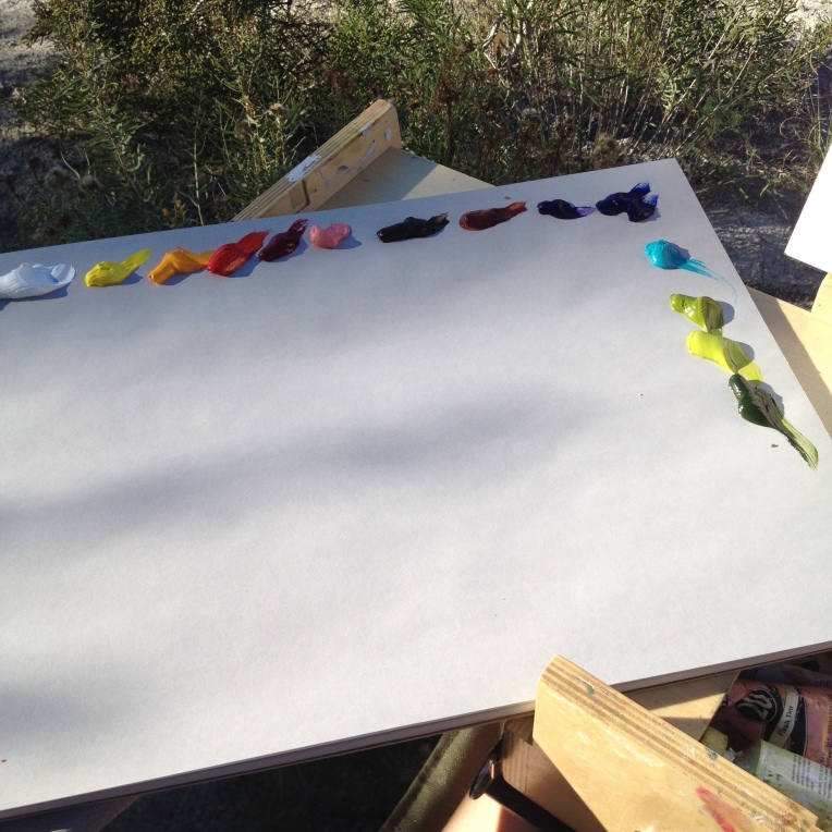 Setting up in the shade to paint