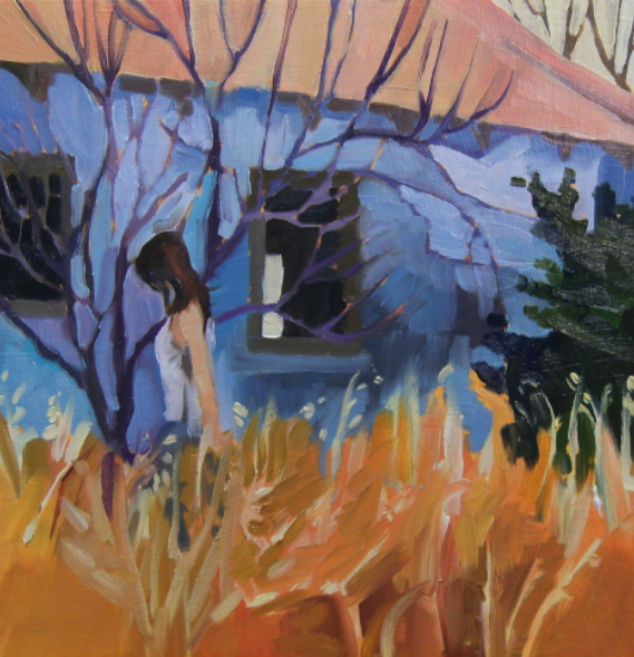 oil painting of old house and girl in long grass
