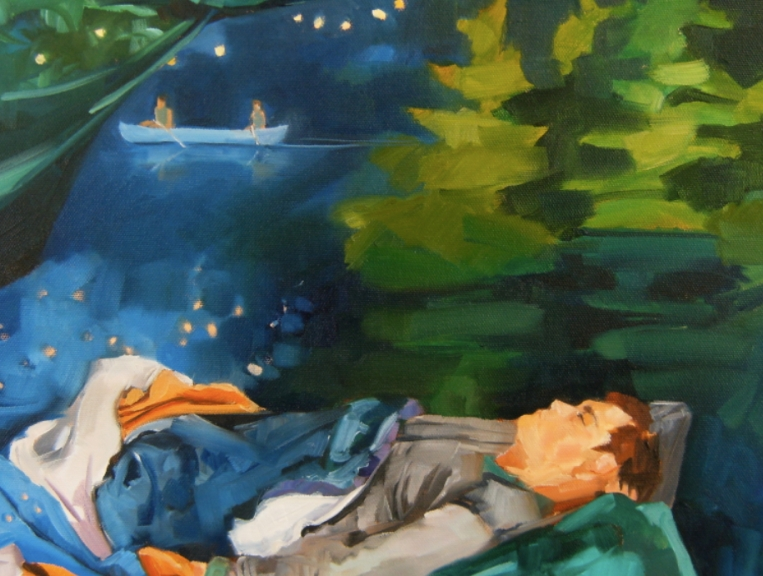 detail of painting with sleeping man, stars, canoe and pine trees