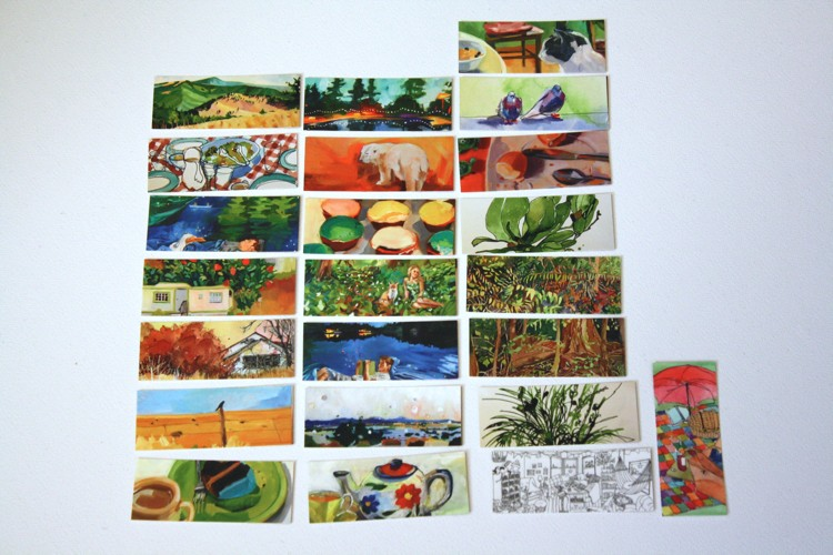 picture of business cards with different artwork on each