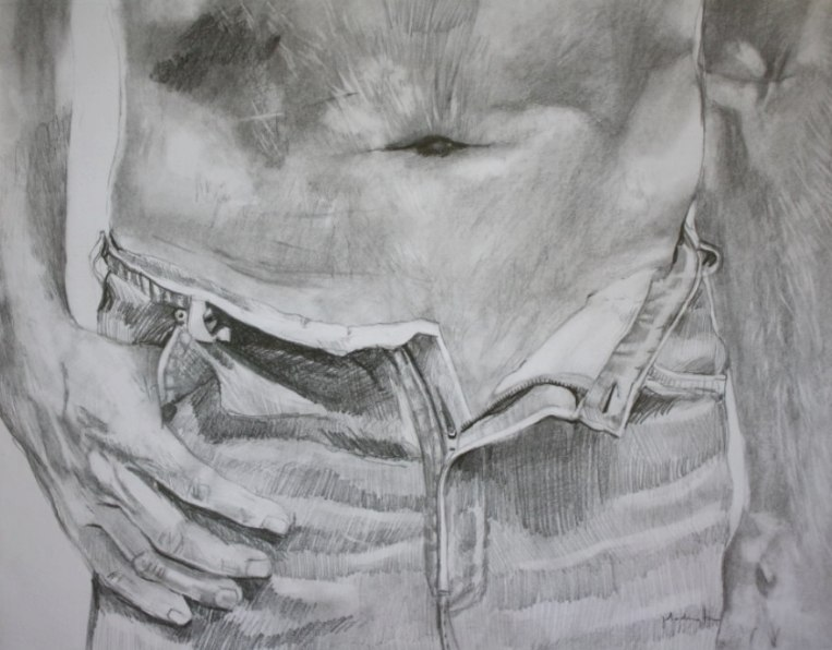 graphite drawing of man's stomach and jeans and hand sexy cowboy
