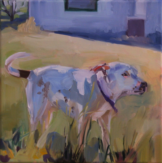 oil painting of sunlight on dog in yard
