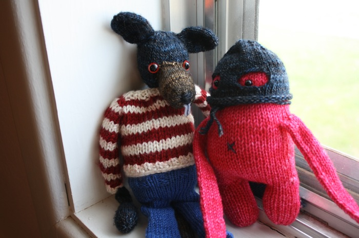knitted toys, fantastic mr. fox rat and rebecca danger monster