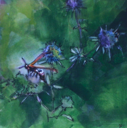 watercolour painting of wasp on a weed
