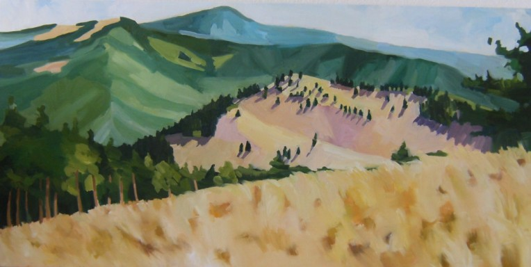 Oil painting of white mountain wilderness, new mexico