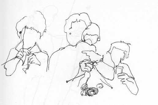 ink drawing blind contour of knitters