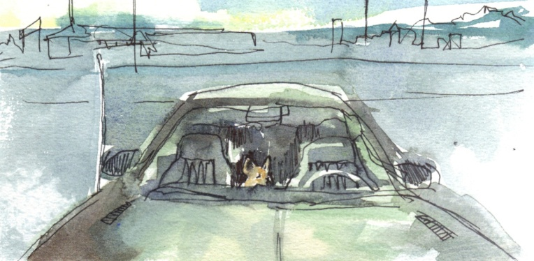 watercolour painting of chihuahua in a car