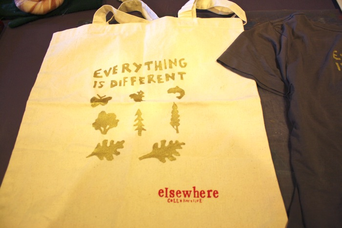 elsewhere residency silkscreen printed tote bag