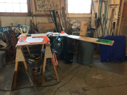 Elise's makeshift desk in the workshop