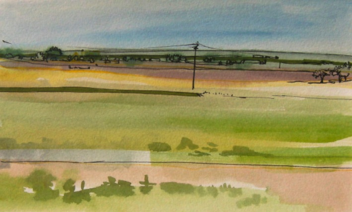 watercolour painting of field, New Mexico