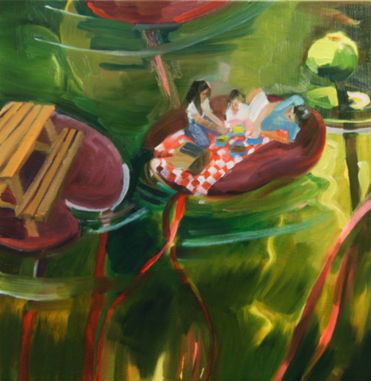 oil painting of lunch on lilypad