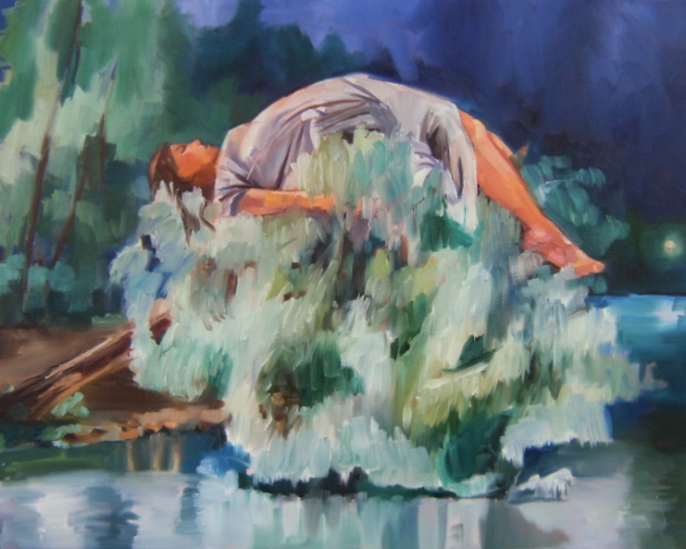 oil painting of a girl sleeping on a weeping willow