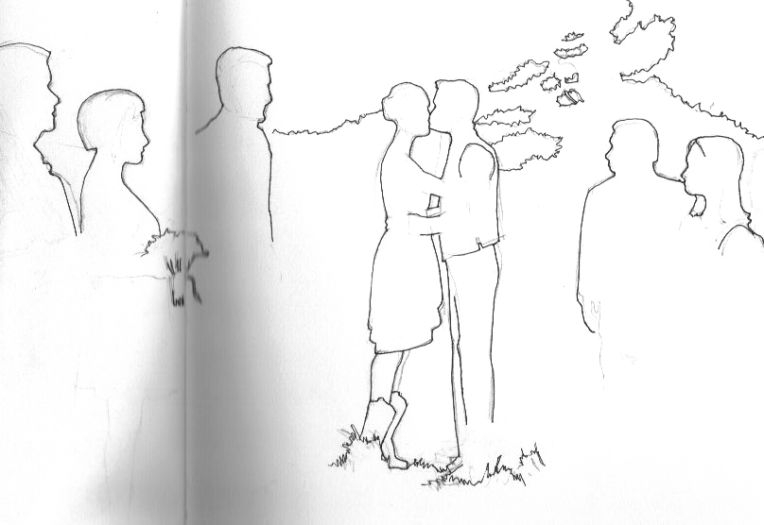 ink and graphite sketch of people wedding