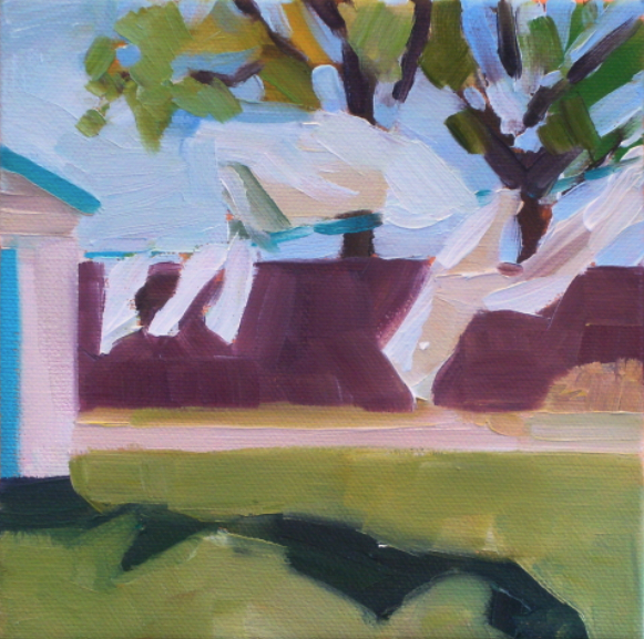 oil painting of white laundry on a line in a yard