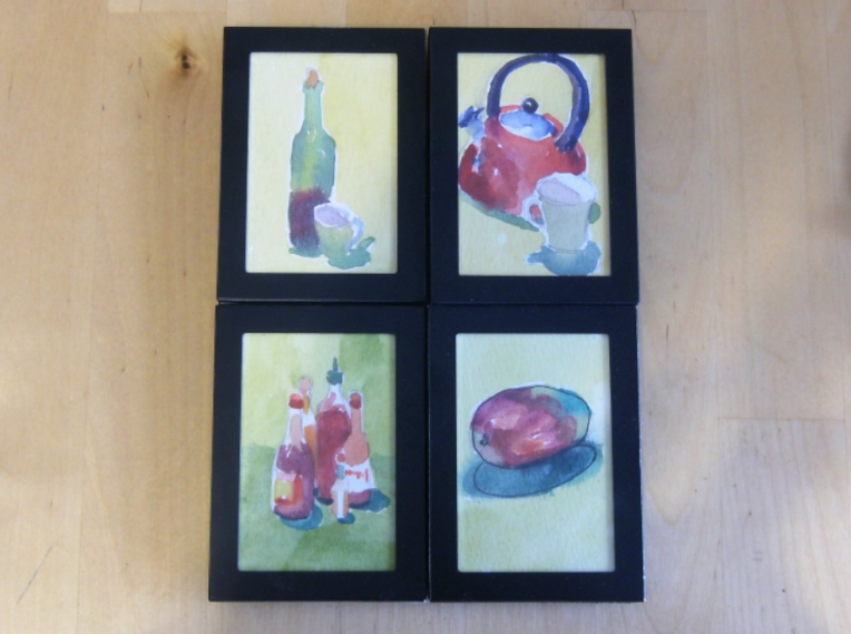 watercolours of teapot, mango, wine and hot sauces
