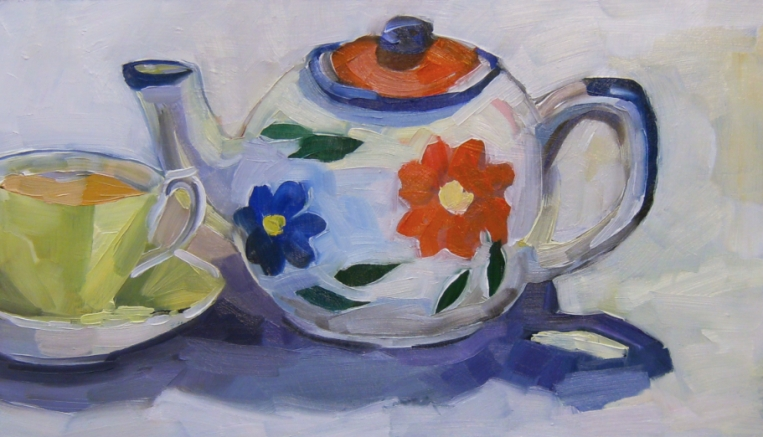 oil painting of colourful tea pot and tea cup