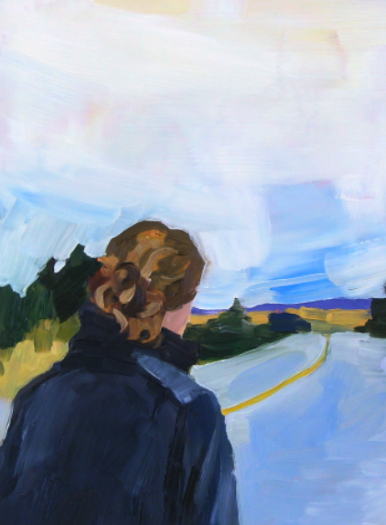 oil painting of girl walking along empty road with big sky