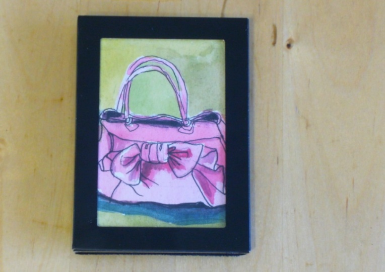miniature watercolour of a purse