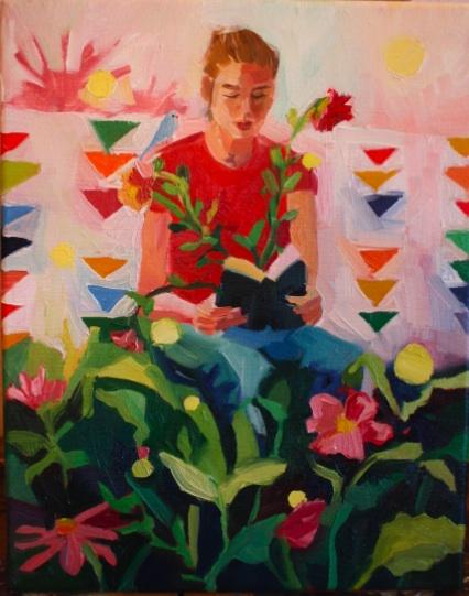 oil painting of girl reading in garden