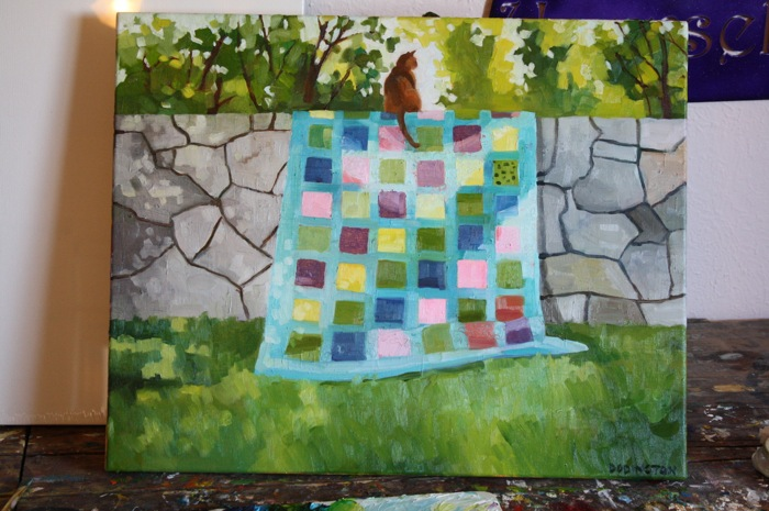 Cat on a Quilt on a Wall, oil/canvas, 16 x 20""