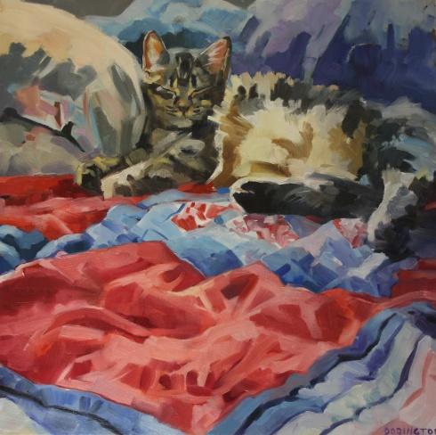 """Against Pillows, oil/canvas, 18 x 18"""""""