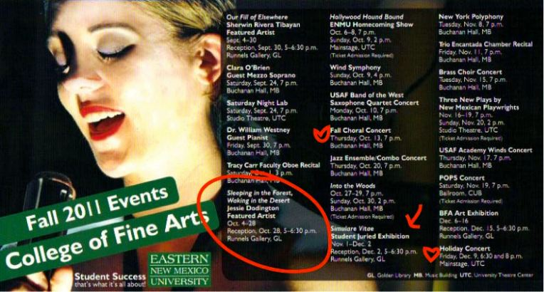 Poster of Fine Arts Events for Fall 2011 ENMU