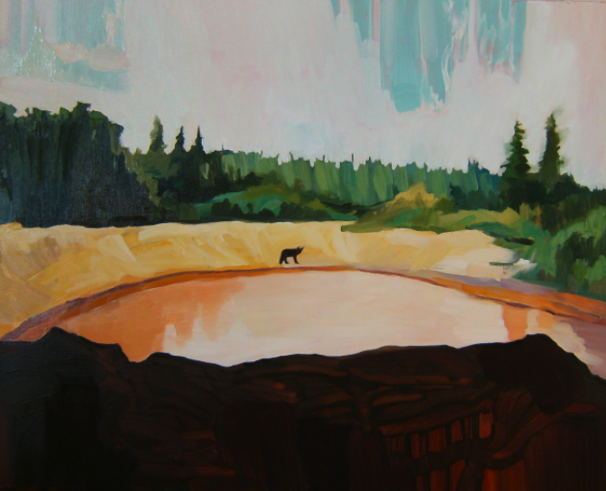 Oil on canvas painting of bear standing at the edge of a gravel pit