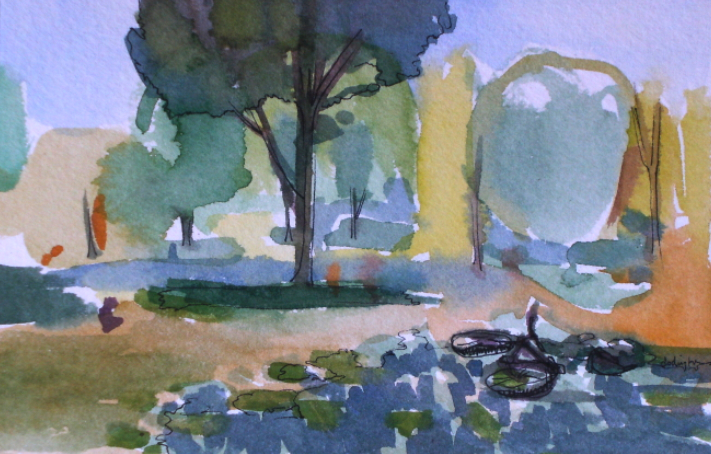 watercolour painting of a park montreal