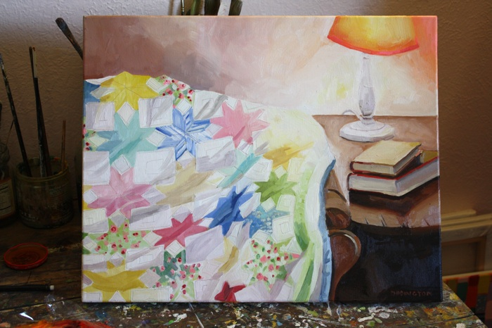 Quilt and Lamp, oil/canvas, 16 x 20""