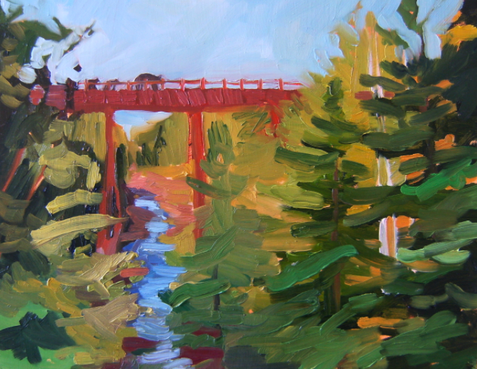 oil on masonite painting of bears on train trestle