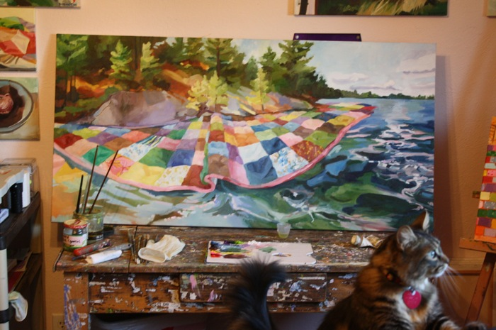 Quilted Lake in Progress, oil/canvas, 2 x 4' with kitten